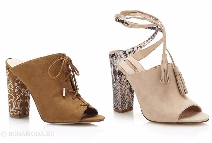 Коллекция обуви Guess весна-лето 2017: замшевые бежевые шлепанцы босоножки