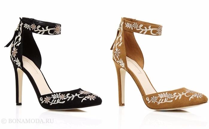 Коллекция обуви Guess весна-лето 2017: остроносые туфли на высоком каблуке с вышивкой