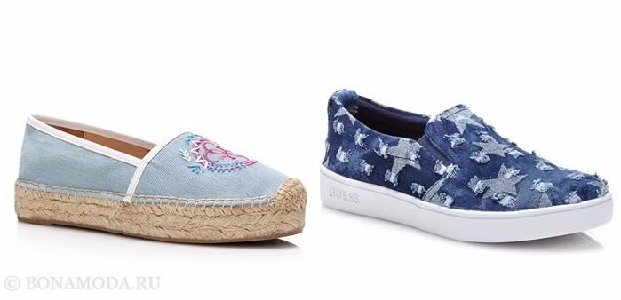 Коллекция обуви Guess весна-лето 2017: джинсовые тапочки эспадрильи