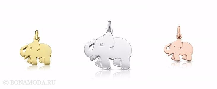 Ювелирная коллекция TOUS осень-зима 2017-2018: подвески слоники из золота