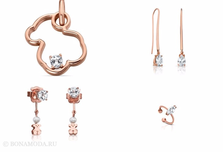 Ювелирная коллекция TOUS осень-зима 2017-2018: кулоны, серьги и кольца из красного золота