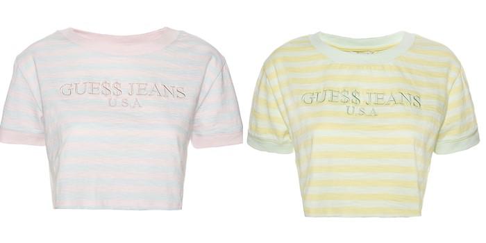 Коллекция GUESS Originals лето 2017: пастельные кроп-топы в полоску
