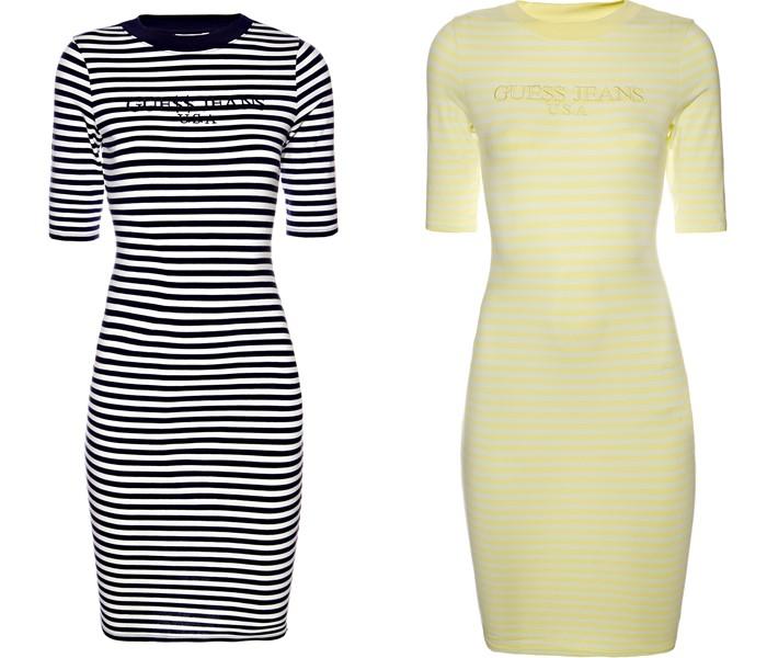 Коллекция GUESS Originals лето 2017: облегающие платья в полоску черно-белое и жёлтое