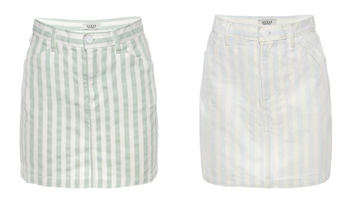 Коллекция GUESS Originals лето 2017: короткие юбки в продольную полоску