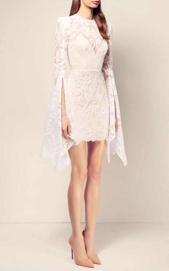 Короткие свадебные платья 2017-2018: кружевное с длинными рукавами с разрезами