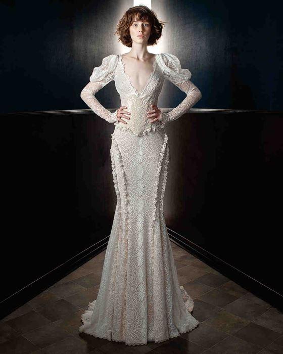 Кружевные свадебные платья 2017-2018: пышные длинные рукава фонарики и винтажное кружево