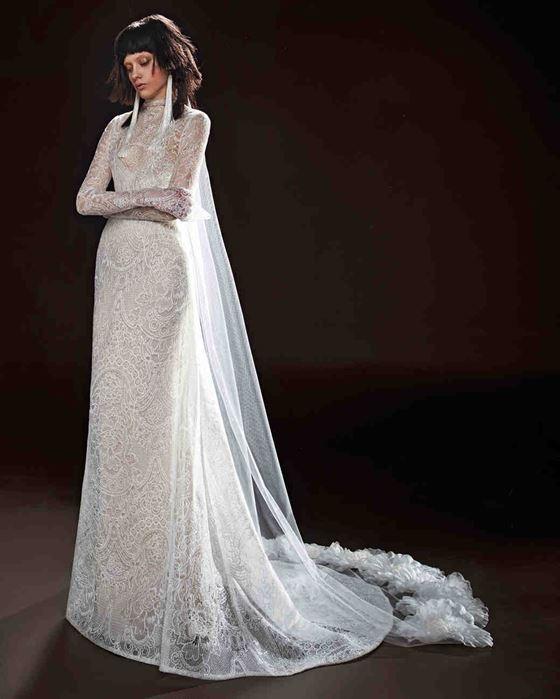 Кружевные свадебные платья 2017-2018: длинные облегающие рукава