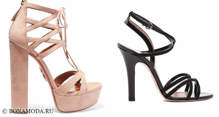 Модные босоножки: тенденции 2017-2018 бежевые и черные на высоком каблуке с тонкими ремешками