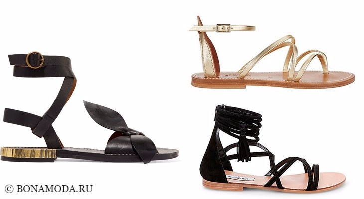 Модные босоножки: тенденции 2017-2018 - плоские римские сандалии, черные и золотые