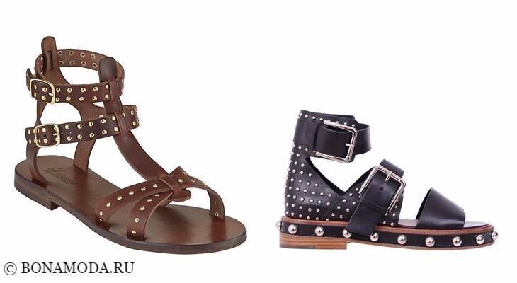 Модные босоножки: тенденции 2017-2018 - плоские сандалии с шипами и заклепками