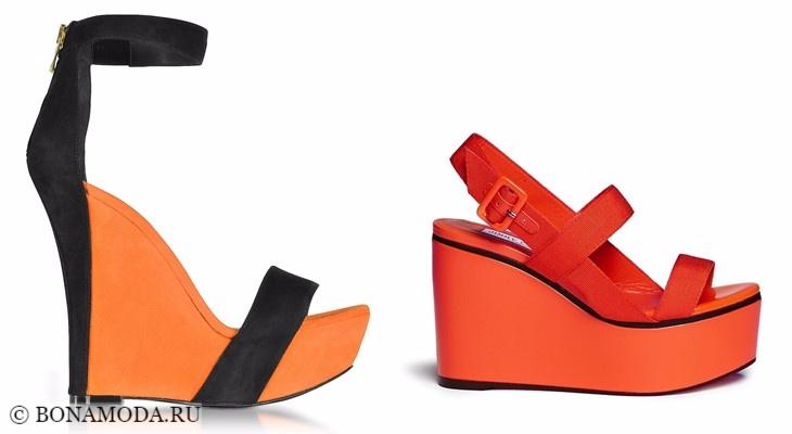 Модные босоножки: тенденции 2017-2018 - яркие оранжевые танкетки