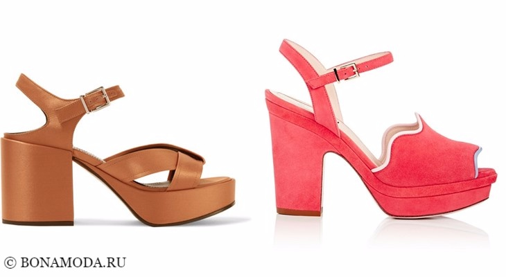 Модные босоножки: тенденции 2017-2018 - бежевые и розовые на низком толстом каблуке