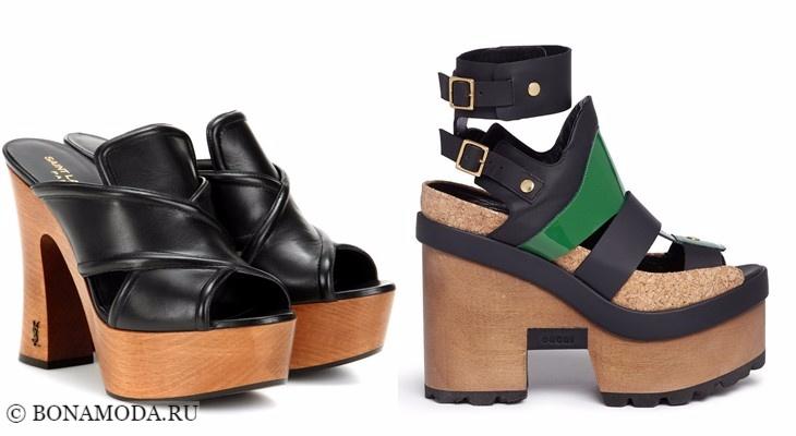 Модные босоножки: тенденции 2017-2018 - черные сабо на деревянной платформе с толстым каблуком