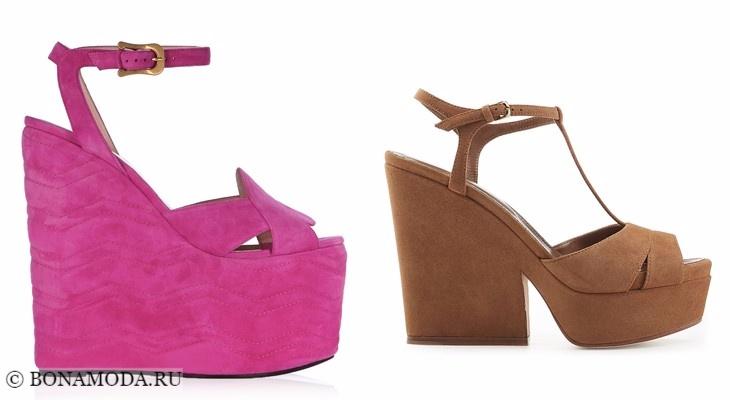 Модные босоножки: тенденции 2017-2018 - розовые и бежевые замшевые