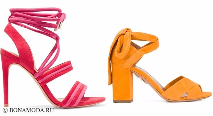 Модные босоножки: тенденции 2017-2018 - розовые и желтые замшевые на каблуке