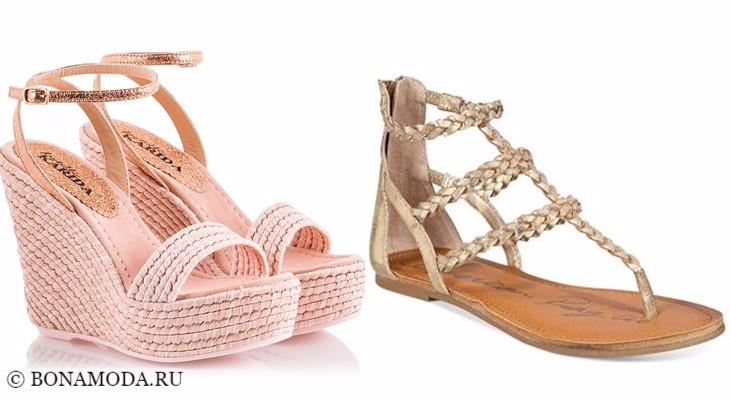 Модные босоножки: тенденции 2017-2018 - розовые плетеные на танкетке и плоские бежевые сандалии