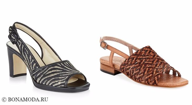 Модные босоножки: тенденции 2017-2018 - плетеные на низком устойчивом каблуке