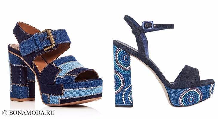 Модные босоножки: тенденции 2017-2018 - темно-синие джинсовые на каблуке и платформе
