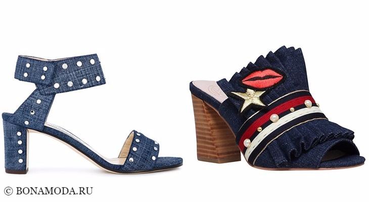 Модные босоножки: тенденции 2017-2018 - джинсовые на нихком широком каблуке