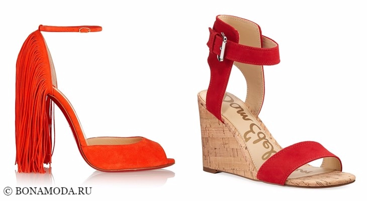 Модные босоножки: тенденции 2017-2018 - замшевые оранжевые и красные с ремешком