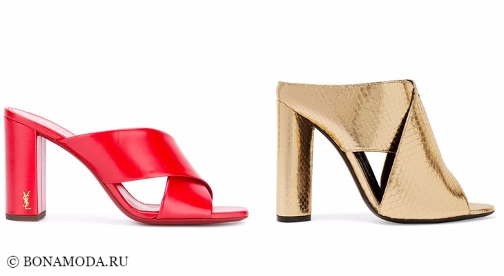 Модные босоножки: тенденции 2017-2018 - красные и золотые шоепанцы на толстом каблуке