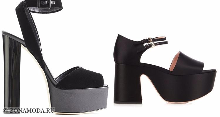 Модные туфли тенденции 2017-2018: чёрные босоножки на каблуке и платформе