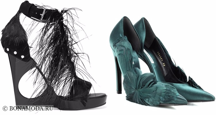 Модные туфли тенденции 2017-2018: черные и зеленые на танкетке и шпильке с перьями