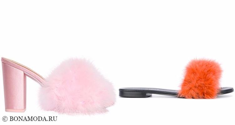 Модные туфли тенденции 2017-2018: меховые шлёпанцы июли розовые и оранжевые