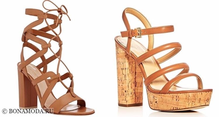 Модные туфли тенденции 2017-2018: бежевые босоножки с ремешками на толстом каблуке