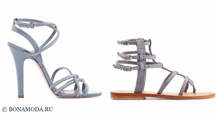 Модные туфли тенденции 2017-2018: серые и голубые босоножки с ремешками, на каблуке и плоские