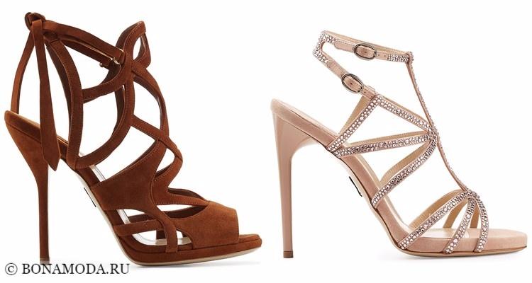 Модные туфли тенденции 2017-2018: коричневые и бежевые босоножки