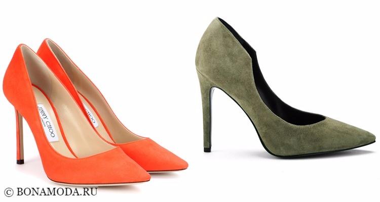 Модные туфли тенденции 2017-2018: оранжевые и зеленые хаки модели на высокой шпильке