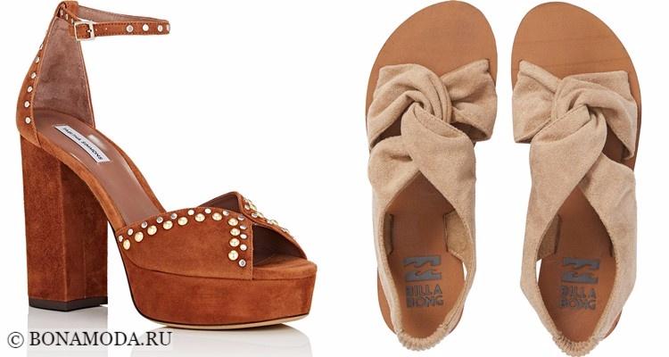 Модные туфли тенденции 2017-2018: бежевые замшевые плоские и на каблуке