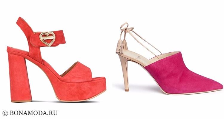 Модные туфли тенденции 2017-2018: оранжевые и яркие розовые замшевые на каблуке