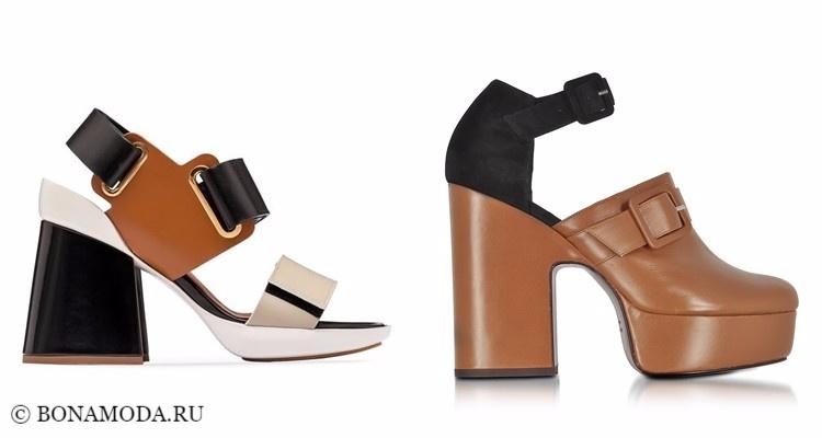 Модные туфли тенденции 2017-2018: коричнево-чёрные на толстом каблуке с ремешками