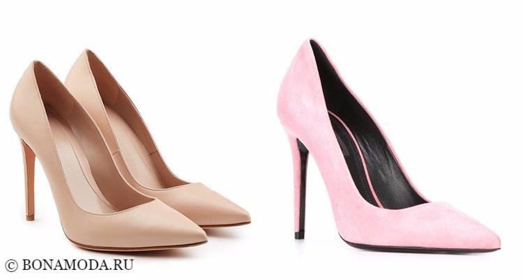 Модные туфли тенденции 2017-2018: лодочки на шпильке бежевые и розовые