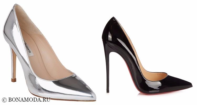 Модные туфли тенденции 2017-2018: лаковые лодочки серебристые и черные на высокой шпильке