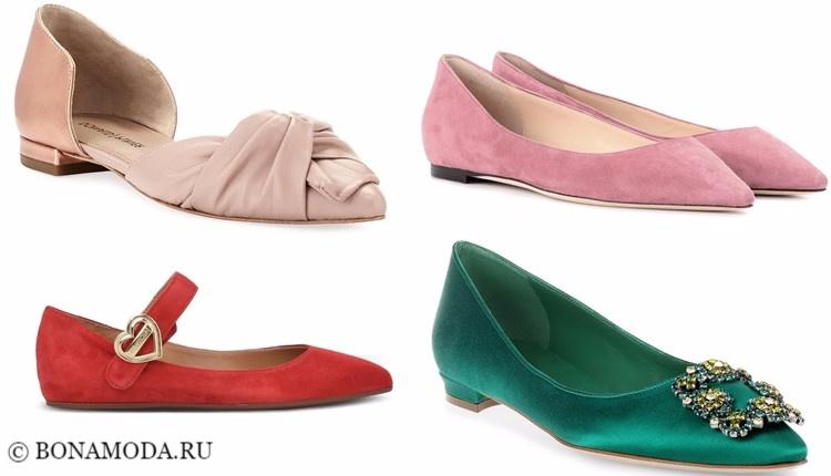 Модные туфли тенденции 2017-2018: плоская подошва замшевые балетки и лодочки острый мыс