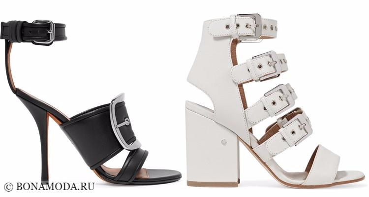 Модные туфли тенденции 2017-2018: чёрные и белые босоножки с ремешками