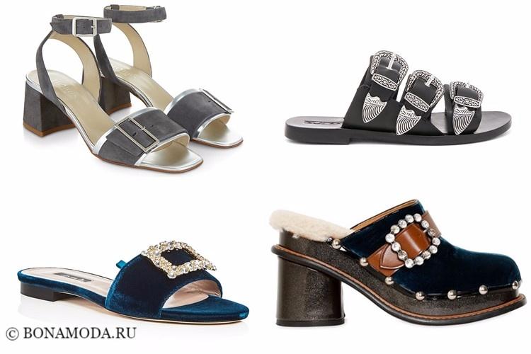 Модные туфли тенденции 2017-2018: мюли и босоножки с пряжками и ремешками