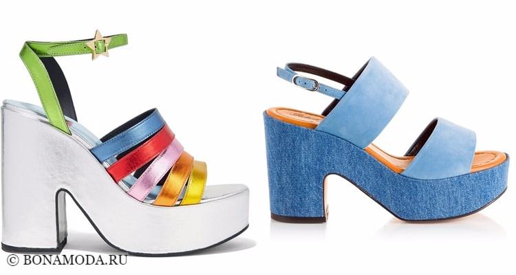Модные туфли тенденции 2017-2018: разноцветные и джинсовые сабо на платформе