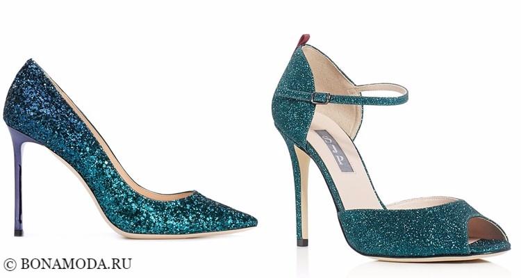 Модные туфли тенденции 2017-2018: зеленые изумрудные глиттеры на шпильке