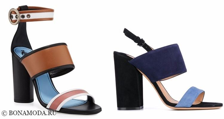 Модные туфли тенденции 2017-2018: синие босоножки колор блок на толстом каблуке