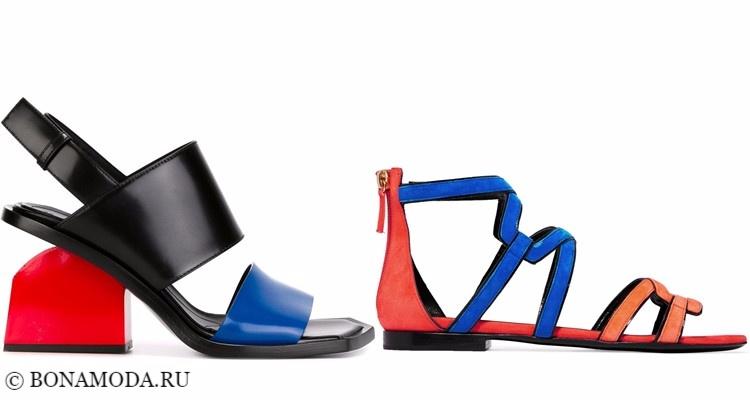 Модные туфли тенденции 2017-2018: яркие красно-синие босоножки колор блок на низком каблуке