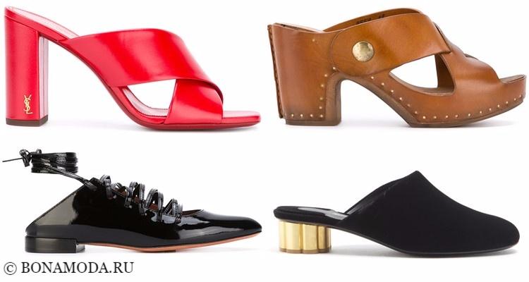 Модные туфли тенденции 2017-2018: красные, бежевые и черные шлепанцы-мюли