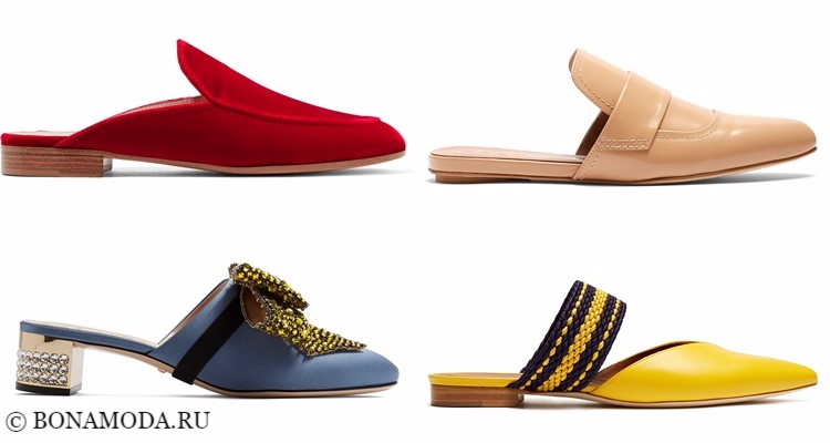 Модные туфли тенденции 2017-2018: красные, синие, желтые и бежевые плоские шлёпанцы-мюли