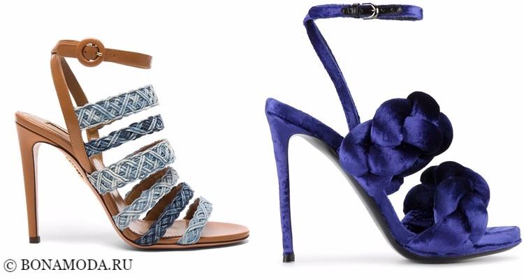 Модные туфли тенденции 2017-2018: плетеные босоножки на шпильке