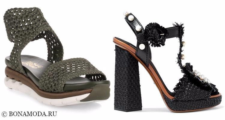 Модные туфли тенденции 2017-2018: зеленые хаки и черные плетеные на плоском ходу и высоком каблуке