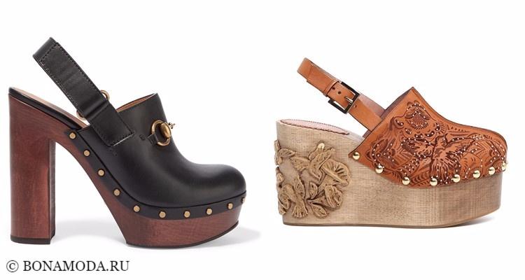 Модные туфли тенденции 2017-2018: сабо на деревянной платформе