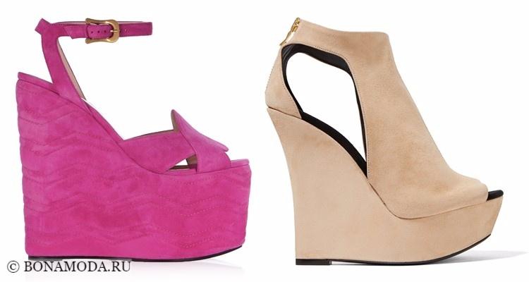 Модные туфли тенденции 2017-2018: тяжелые танкетки замшевые розовые и беревые
